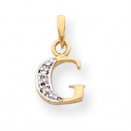 14k & Rhodium Polished .01ct Diamond Initial G Charm