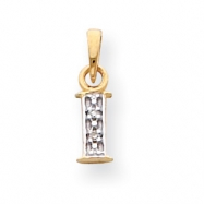 14k & Rhodium Polished .01ct Diamond Initial I Charm