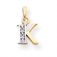 14k & Rhodium Polished .01ct Diamond Initial K Charm