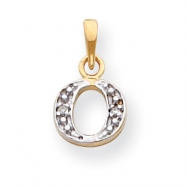 14k & Rhodium Polished .01ct Diamond Initial O Charm