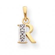 14k & Rhodium Polished .01ct Diamond Initial R Charm
