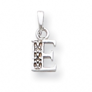 14K White Gold Polished .01ct Diamond Initial E Charm