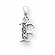 14K White Gold Polished .01ct Diamond Initial F Charm