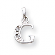 14K White Gold Polished .01ct Diamond Initial G Charm