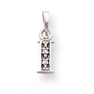 14K White Gold Polished .01ct Diamond Initial I Charm