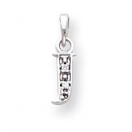 14K White Gold Polished .01ct Diamond Initial J Charm