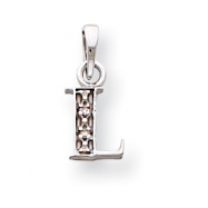 14K White Gold Polished .01ct Diamond Initial L Charm