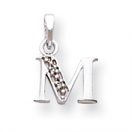 14K White Gold Polished .01ct Diamond Initial M Charm