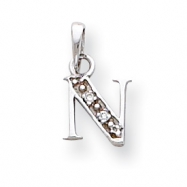 14K White Gold Polished .01ct Diamond Initial N Charm