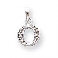 14K White Gold Polished .01ct Diamond Initial O Charm