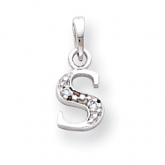 14K White Gold Polished .01ct Diamond Initial S Charm