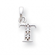14K White Gold Polished .01ct Diamond Initial T Charm