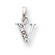 14K White Gold Polished .01ct Diamond Initial V Charm
