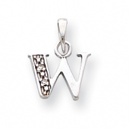 14K White Gold Polished .01ct Diamond Initial W Charm