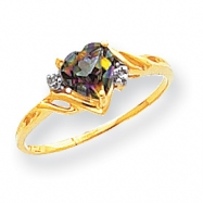 10k Heart Mystic Fire Topaz & .01ct Diamond Ring