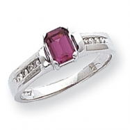 10k White Gold Rhodolite Garnet & .08ct Diamond Ring
