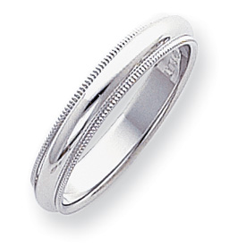 Platinum 4mm Comfort-Fit Milgrain Size 5 Wedding Band ring
