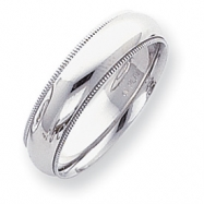 Platinum 6mm Comfort-Fit Milgrain Size 5 Wedding Band ring
