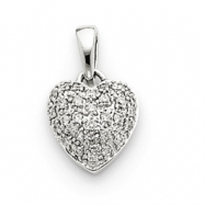14k White Gold AA Quality Completed Diamond Vintage Heart Pendant