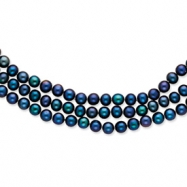 14k Polished 6-6.5mm Black Cultured Pearl 3-Strand Necklace chain