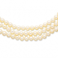14k Polished 6-6.5mm White Cultured Pearl 3-Strand Necklace chain