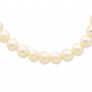 14k Polished 9-10mm White Freshwater Cultured Pearl Necklace chain