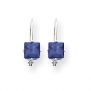 14k White Gold 5mm Princess Cut Tanzanite leverback earring