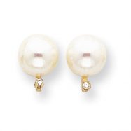 14k 8mm Pearl AA Diamond earring