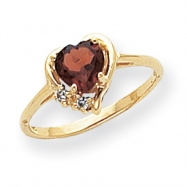 14k 6mm Heart Garnet A Diamond ring