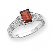 14k White Gold 7x5mm Garnet & AA Diamond Ring