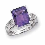 14k White Gold 12x10mm Emerald Cut Amethyst A Diamond ring