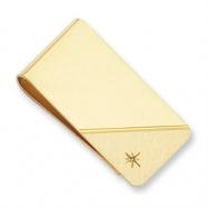 Gold-plated Star Cut .001ct. Diamond Money Clip
