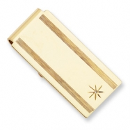 Gold-plated Star Cut .001ct Diamond Hinged Money Clip