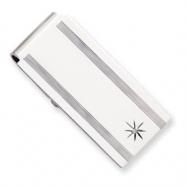 Silver-plated & Rhodium Star .001ct Diamond Hinged Money Clip