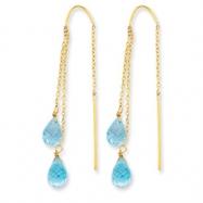 14k Double Blue Topaz Pear Shape Threader Earrings