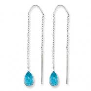 14k White Gold Blue Topaz Pear Bezel Threader Earrings