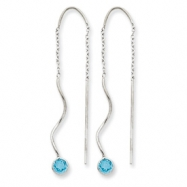 14k White Gold Blue Topaz Round Bezel Threader Earrings