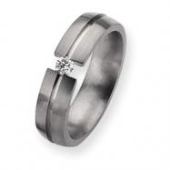 Titanium 6mm Diamond Brushed Band ring