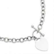 14k White Gold Heart Charm Necklace chain