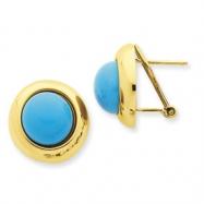 14k Omega Clip Turquoise Earrings