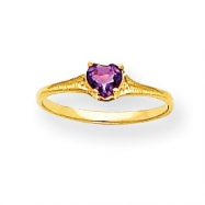 14k 4mm Amethyst Heart Baby Ring