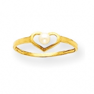 14k 2.75mm Cultured Pearl Heart Ring