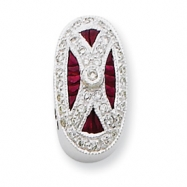 14k White Gold Vintage Diamond & Ruby Bracelet Slide