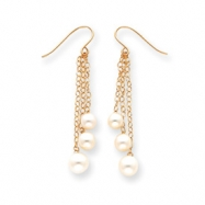 14k Pearl Dangle Wire Earrings