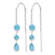 14k White Gold Blue Topaz Dangle U Wire Earrings