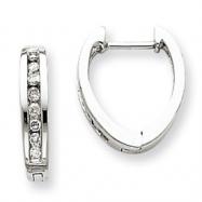 14k White Gold AA Diamond Hoop Earrings