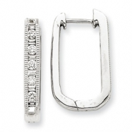 14k White Gold Diamond Square Hoop Earrings