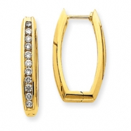 14k Diamond Rectangle Hoop Earrings