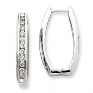 14k White Gold Diamond Rectangle Hoop Earrings