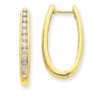 14k Diamond Oval Hoop Earrings